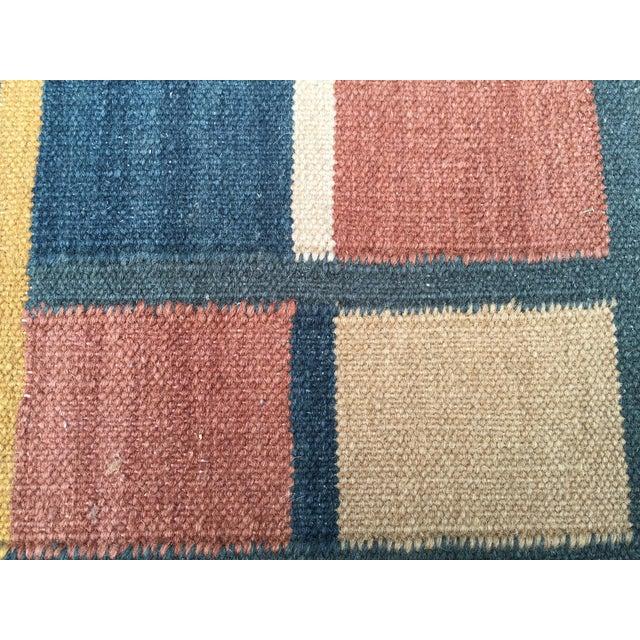 Geometric Indian Dhurrie Wool Rug - 4' x 6' - Image 7 of 8