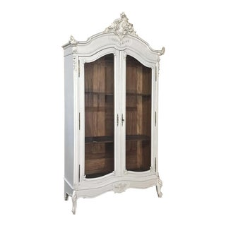 19th Century French Louis XV Painted Display Armoire ~ Bookcase For Sale