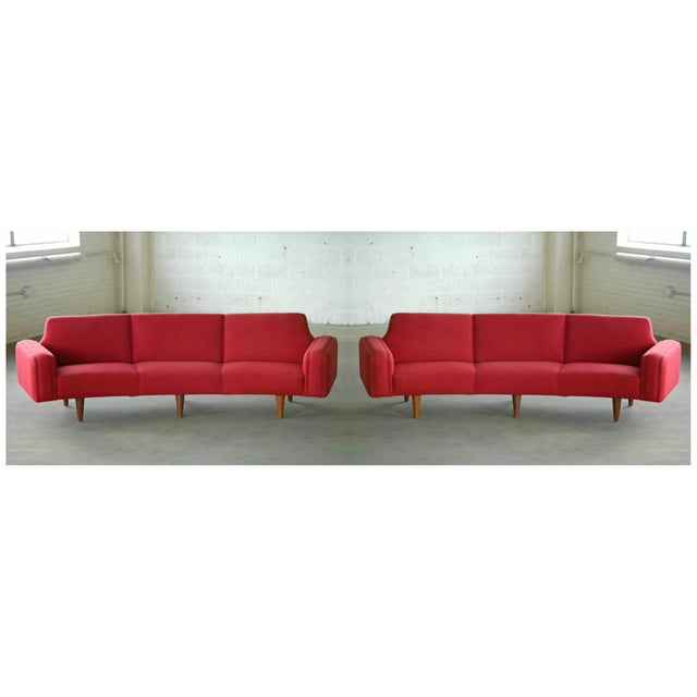 Large Danish 1960s Illum Wikkelso for Aarhus Model 450 Curved Sofas - a Pair For Sale - Image 13 of 13