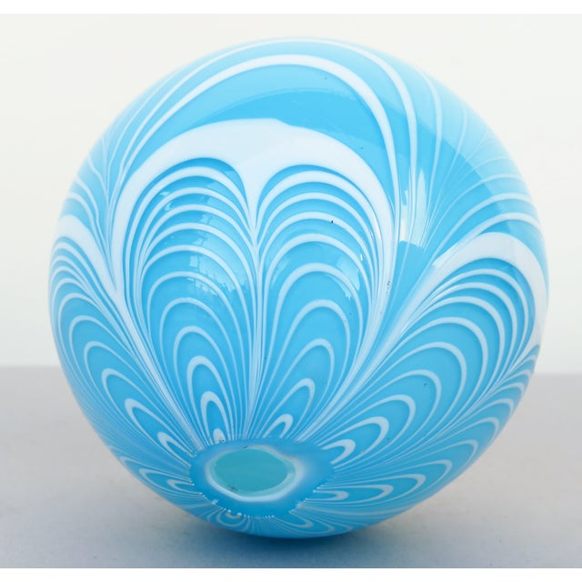 Early 20th Century Tiffany Blue Blown Glass Witch Ball For Sale - Image 5 of 6