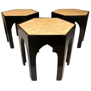 Three Vintage Capiz Shell Top Side Tables For Sale