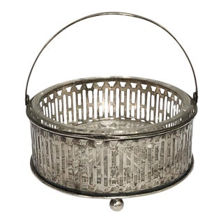 Sterling Silver & Glass Handled Basket Vide Poche Dish For Sale