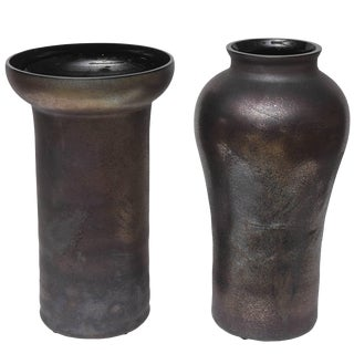 Oversized Cenedese Scavo Glass Vases - a Pair For Sale