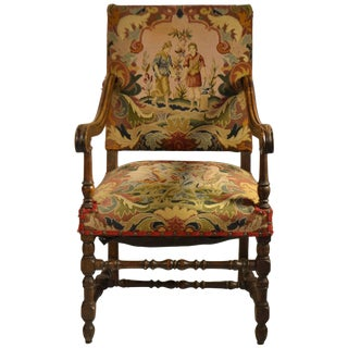 Louis XIII-Style Fruitwood Fauteuil For Sale