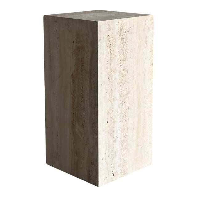 Late 20th Century Tall Travertine Pedestal For Sale