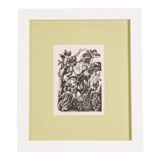 1930s Vintage Framed English Berries Engraving Print For Sale