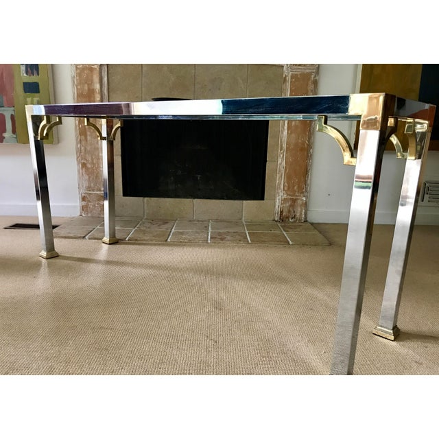 Mid Century Chrome and Glass Console / Sofa Table - Image 10 of 11