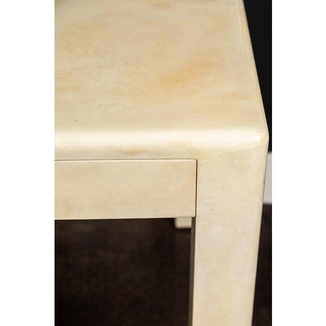 Animal Skin 1980s Creme Colored Goatskin Desk by Karl Springer For Sale - Image 7 of 11