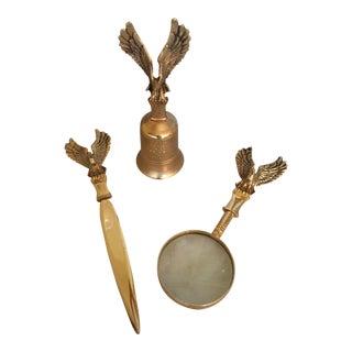 Vintage Brass Desk Accessories - Set of 3