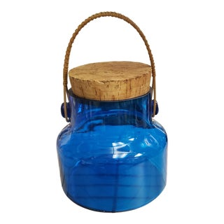 1970s Takahashi Cobalt Glass Cork Lidded Jar With Wicker Handle For Sale
