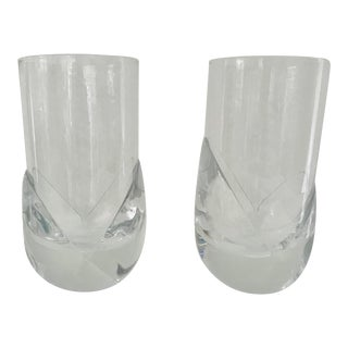 1960s Daum France Crystal Highball Glasses Corelle Pattern - a Pair For Sale