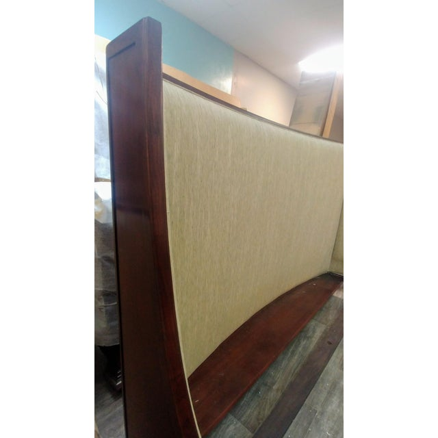 Henredon Furniture Barbara Barry Graceful Walnut Upholstered King Platform/Low Profile Bed For Sale - Image 9 of 13