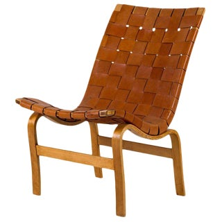 """Bruno Mathsson Leather """"Eva"""" Lounge Chair For Sale"""