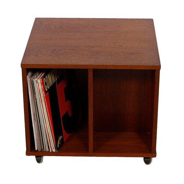 Rolling Vinyl / Book Caddy / Multifunctional Storage Cube in Teak - Image 4 of 10