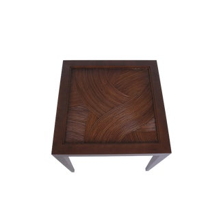 David Francis Rattan and Mahogany End Table For Sale