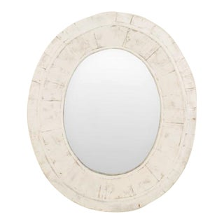 American Country (19/20th Cent) Weathered White Painted Oval Thick Framed Wall Mirror For Sale