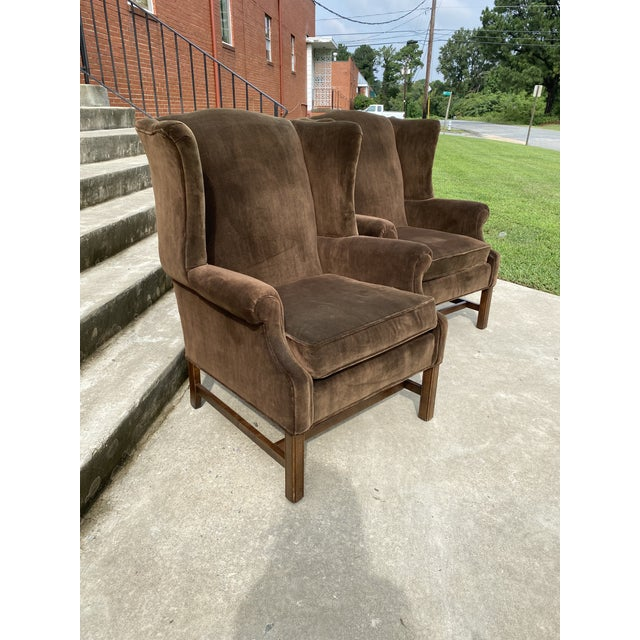 Ethan Allen Ethan Allen Chocolate Brown Velvet Wingback Chairs- a Pair For Sale - Image 4 of 13