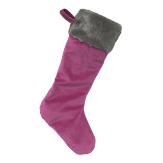 Original Custom Made Magenta Velvet Holiday Stocking With Faux Fur Cuff For Sale