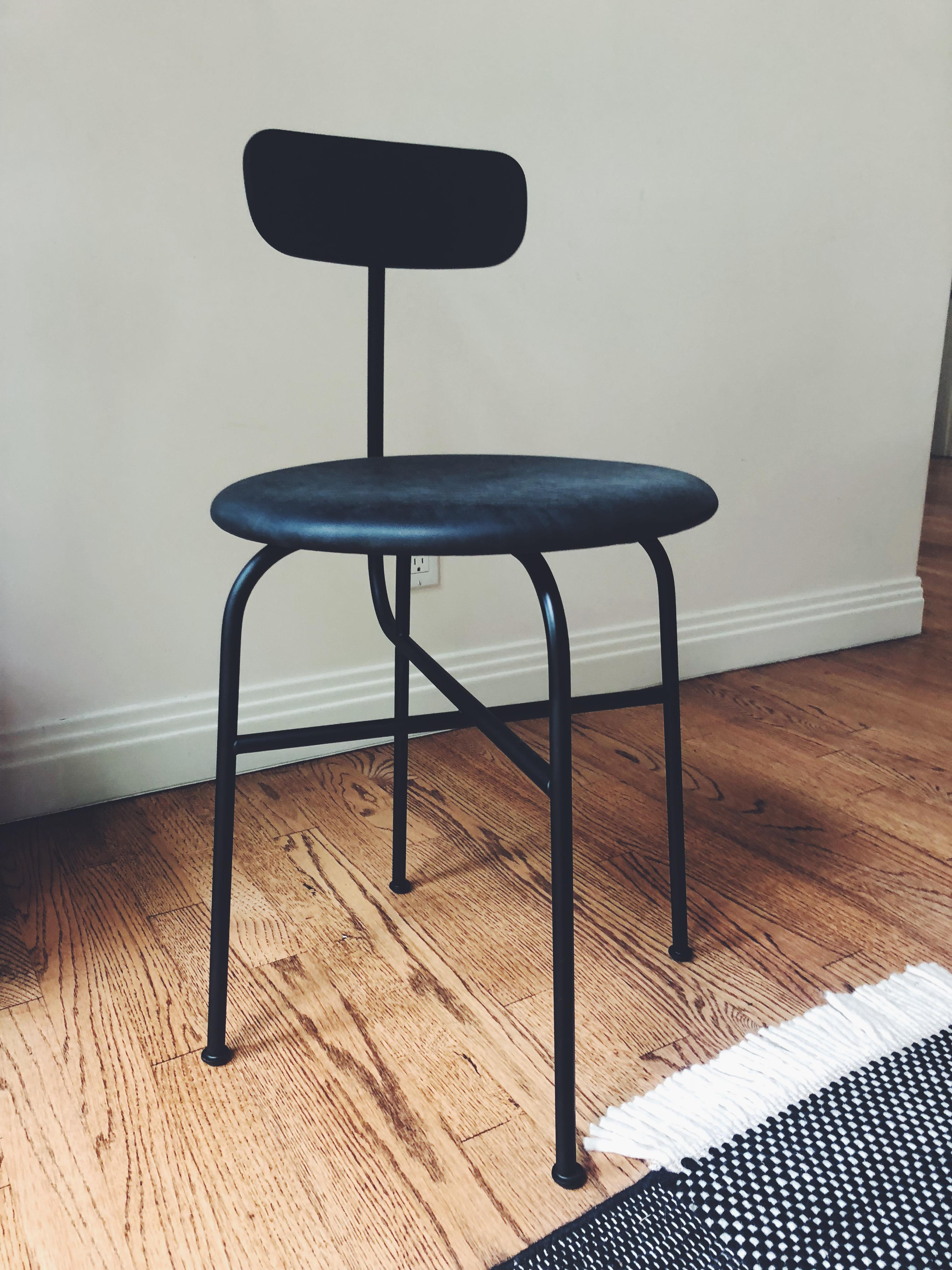 Bauhaus Afternoon Black Leather And Metal Dining Chair Chairish