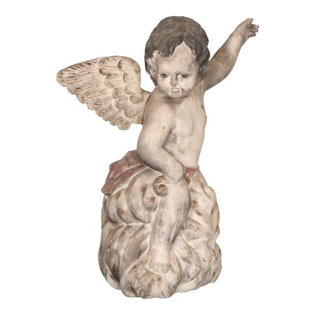 Antique Carved Wooden Angel For Sale