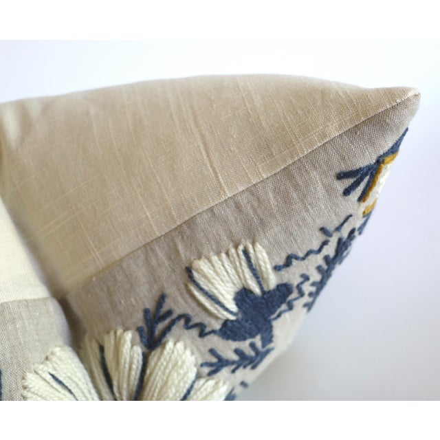 Traditional Swedish Schumacher Embroidered Pillow Cover in Blue, Ochre, & Natural For Sale - Image 3 of 5