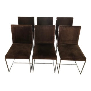 1970s Vintage Milo Baughman Inspired Dining Chairs- Set of 6 For Sale