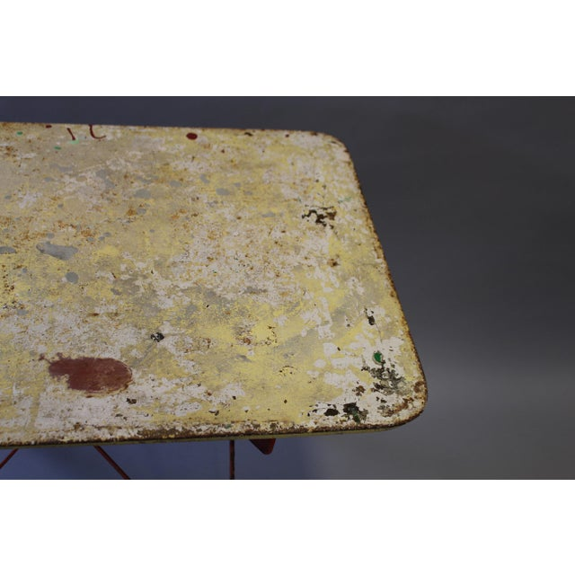 Folding Painted Metal Bistro Table With Red Legs For Sale In Nashville - Image 6 of 7