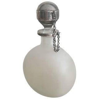 Sterling and Frosted Glass Decanter Perfume Bottle