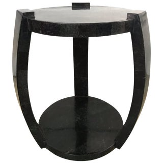 Maitland Smith Tessellated Black Marble Occasional Side or End Table For Sale