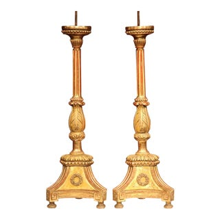 19th Century Italian Carved Altar Sticks With Gold Leaf - A Pair For Sale