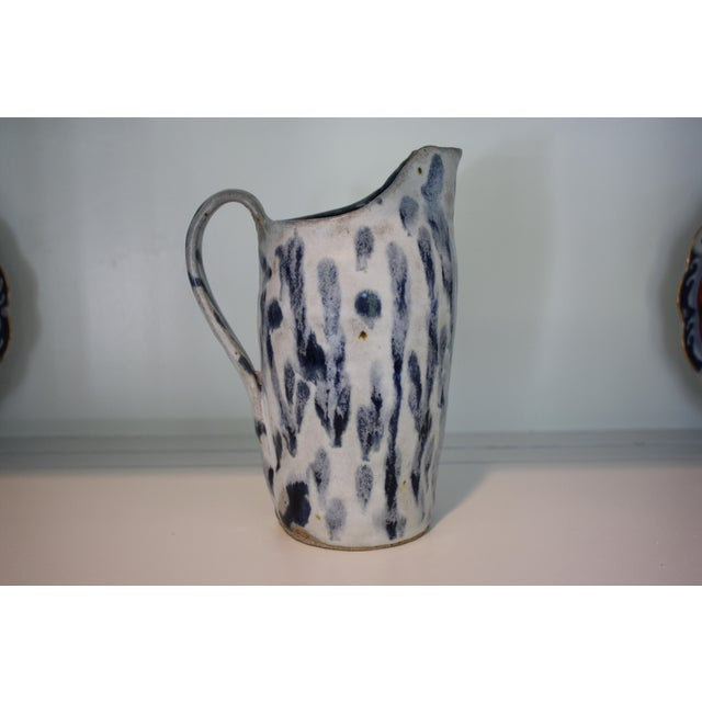 Abstract Handmade Blue & White Stoneware Pitcher For Sale In Dallas - Image 6 of 11