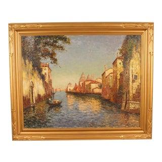 1930s Vintage Richard De Ribcowsky Venetian Painting For Sale