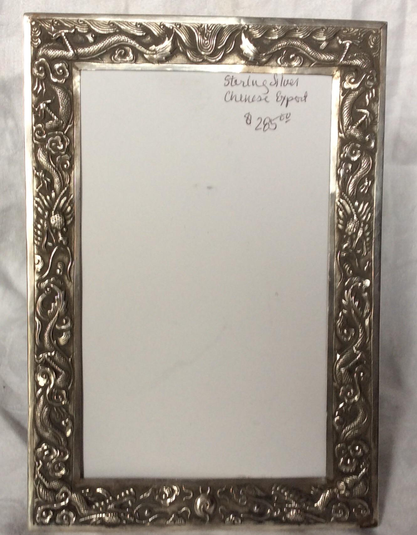 Sophisticated Antique Chinese Export Sterling Silver Frame Decaso
