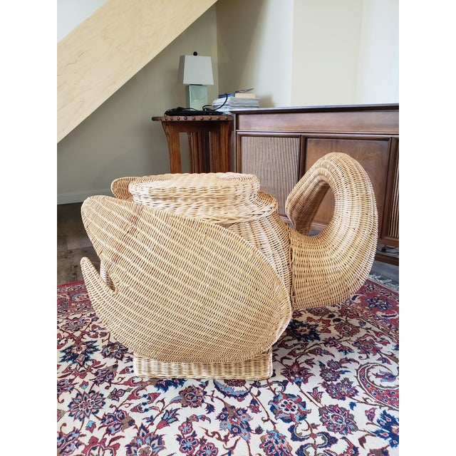 Mid-Century Modern Vintage Wicker Swan Table/Stool For Sale - Image 3 of 8