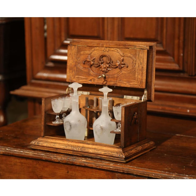 Black 19th Century French Black Forest Carved Walnut Cave a Liqueur With Cigar Holders For Sale - Image 8 of 13