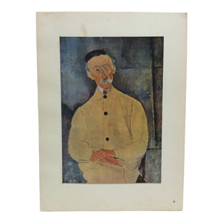 """1947 Vintage Modigliani """"Portrait De Lepoutre"""" Mounted French Color Print For Sale"""