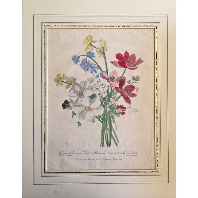 Original French antique hand colored botanical floral bouquet etching. Featuring anemones, violets, hyacinths. Published...