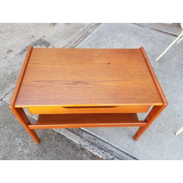Chestnut Teak Danish Modern Side Table With Drawer For Sale - Image 8 of 11