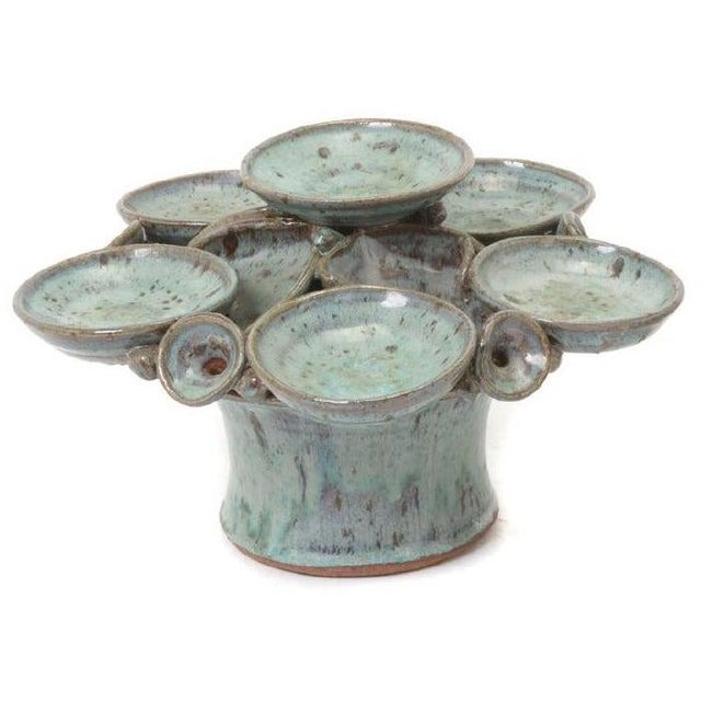 Ceramic 1960s Flambe Glazed Compote/Fountain by Eunice Prieto For Sale - Image 7 of 7