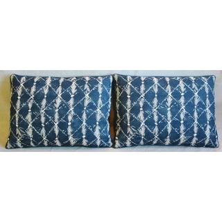 "Designer Chris Barrett Blue & White Feather/Down Pillows 23"" X 17"" - Pair Preview"