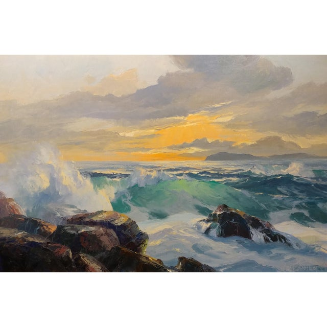 Impressionism Bennett Bradbury California Seascape Oil Painting on Canvas For Sale - Image 3 of 10