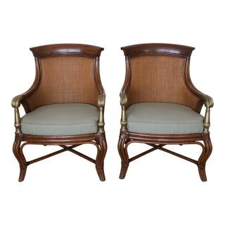 Ethan Allen Wicker Rattan Chairs - a Pair