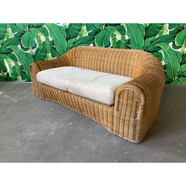 Sculptural Wicker Sofa in the Manner of Michael Taylor For Sale - Image 10 of 11