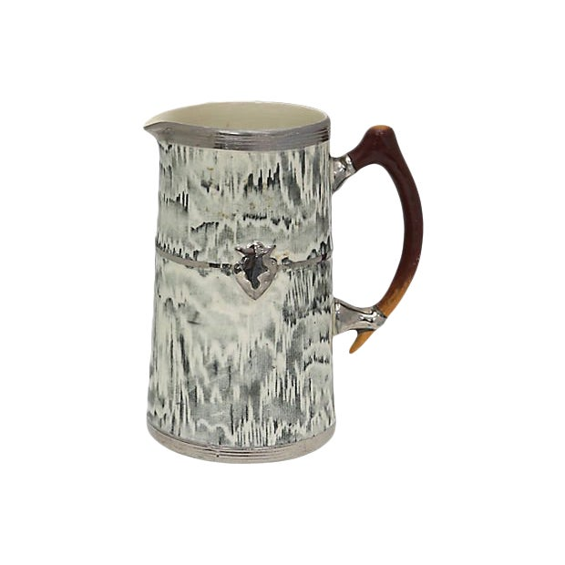 1930s English Silver Shield Faux Bois Jug For Sale