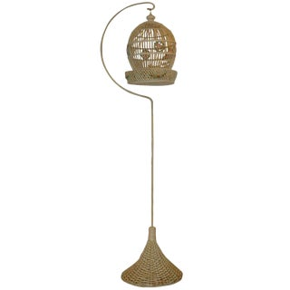 Wicker Bird Cage on Original Pedestal For Sale