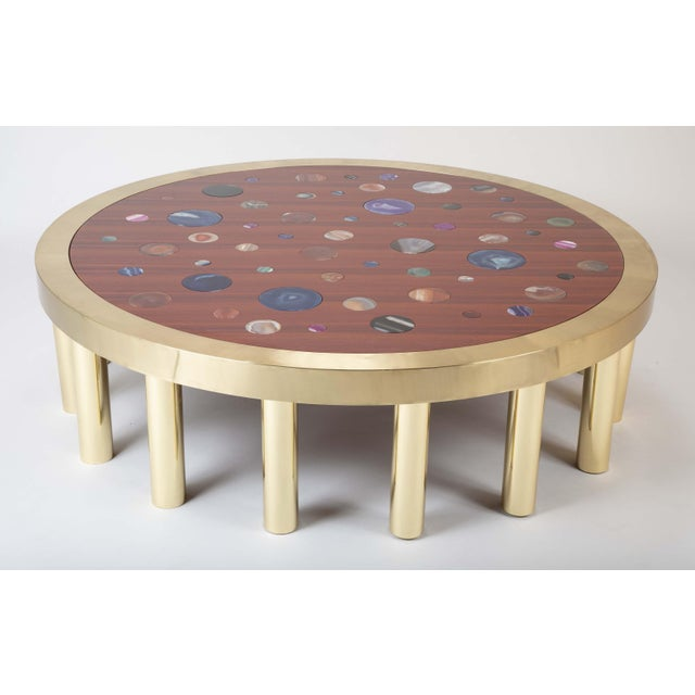 Large Agate Inlaid Sapelle and Brass Coffee Table For Sale - Image 11 of 12