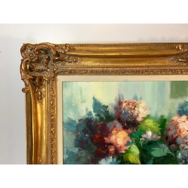 1960s Vintage Still Life With Flowers Oil Painting by Manuel Cuberos For Sale - Image 5 of 12