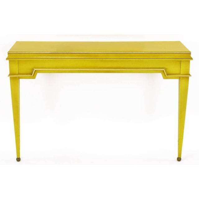 Contemporary Empire Style Console and Mirror in Glazed Yellow Lacquer For Sale - Image 3 of 10