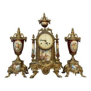 19th Century French Empire Reproduction Mantle Clock Set - 3 Pieces For Sale