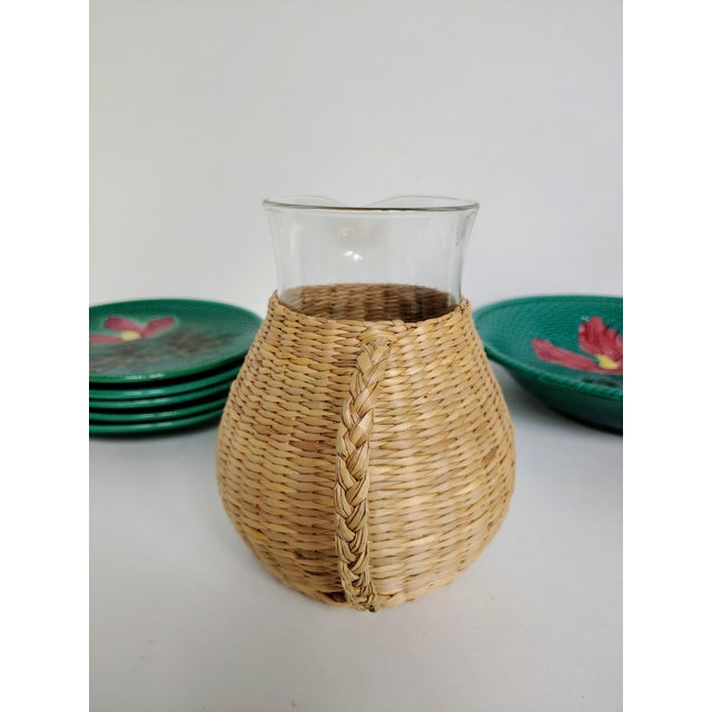 Woven Wicker Wrapped Pitcher For Sale - Image 4 of 9